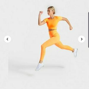Gymshark orange ultra seamless set